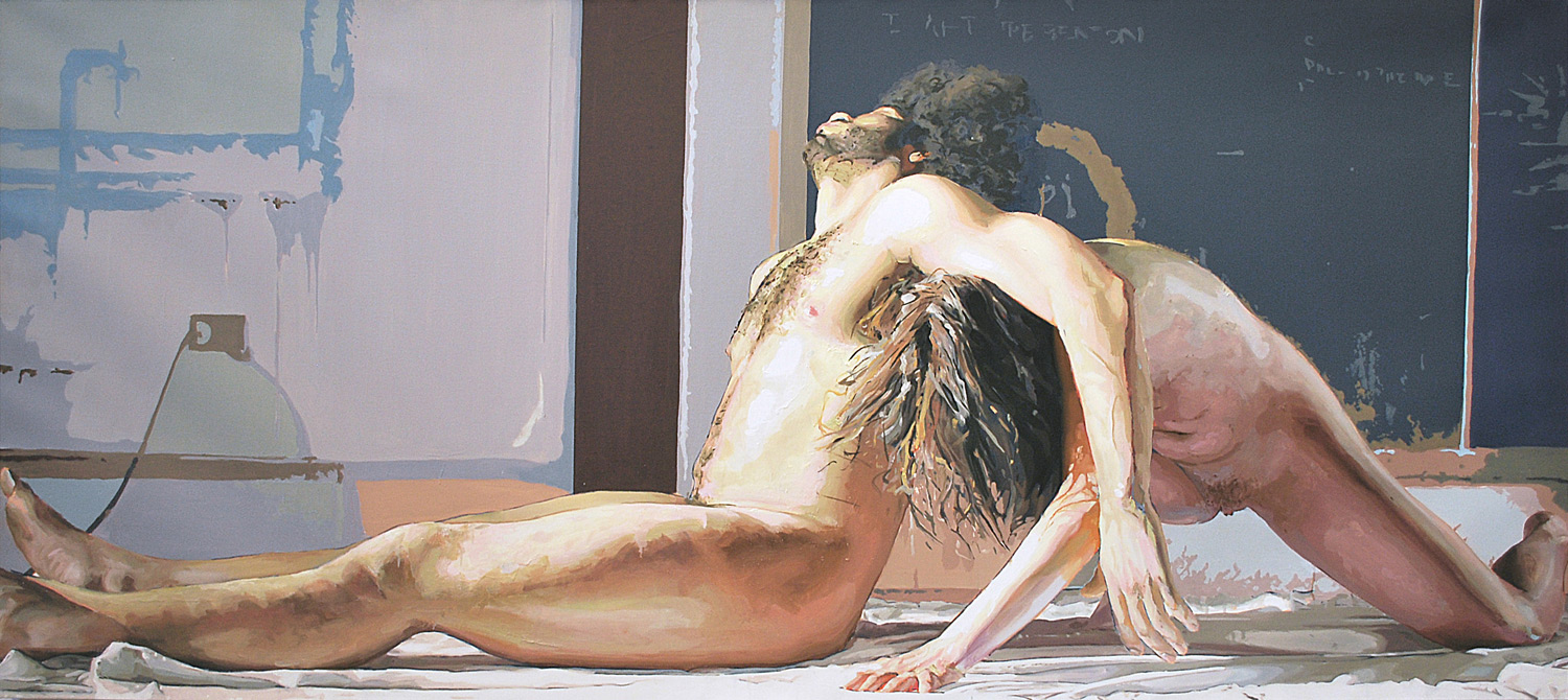 LABOR II, 2014, oil on linen, 42 x 96 inches (106.7 x 243.8 cm)