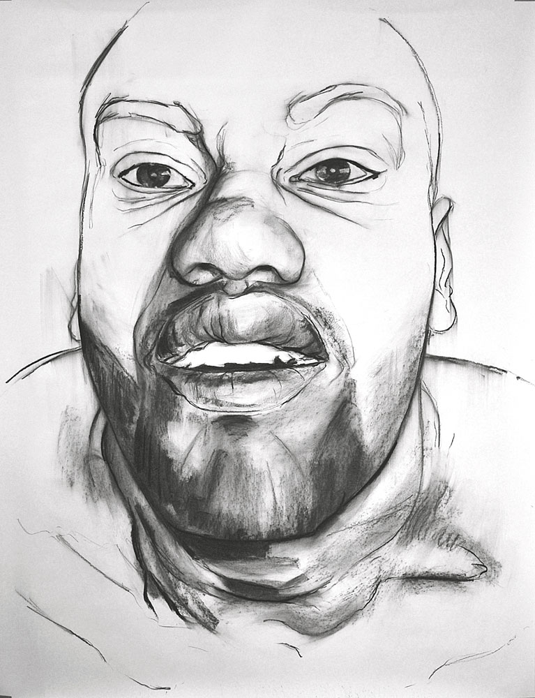 MOUTHPIECE DRAWING, 2012, charcoal on paper, 60 x 42 inches (152.7 x 106.7 cm).