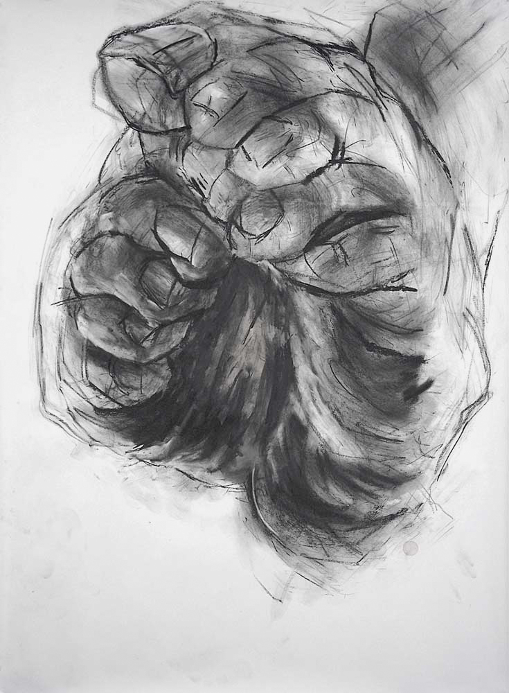 OEDIPUS DRAWING 3, 2007, charcoal and oil on paper, 42 x 30 inches (106.7 x 76.2 cm).
