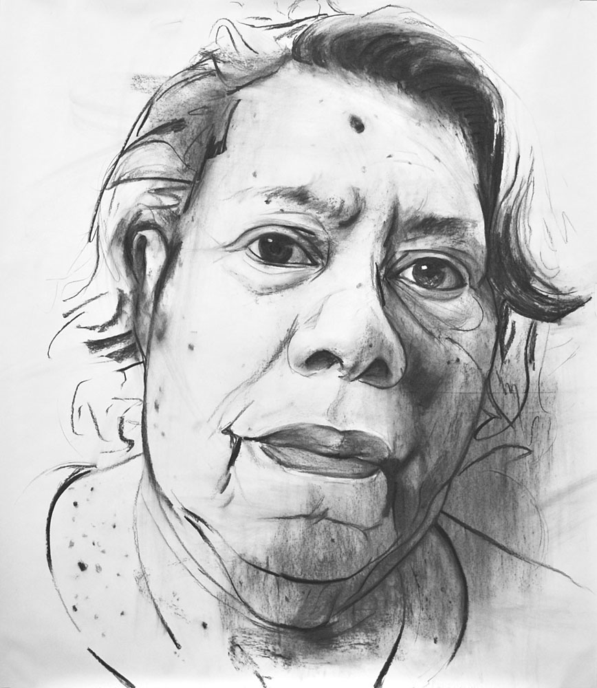 STUDY FOR C.R.H. (THE ARTIST'S MOTHER), 2013, charcoal on paper, 70 x 60 inches (177.8 x 152.4 cm).