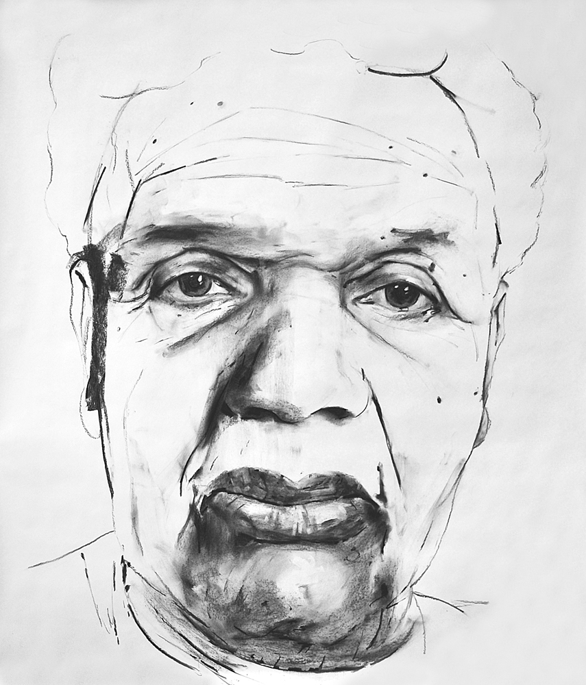 STUDY FOR F.B.J. (THE ARTIST'S GRANDMOTHER), 2015, charcoal on paper, 70 x 60 inch (177.8 x 152.4 cm).