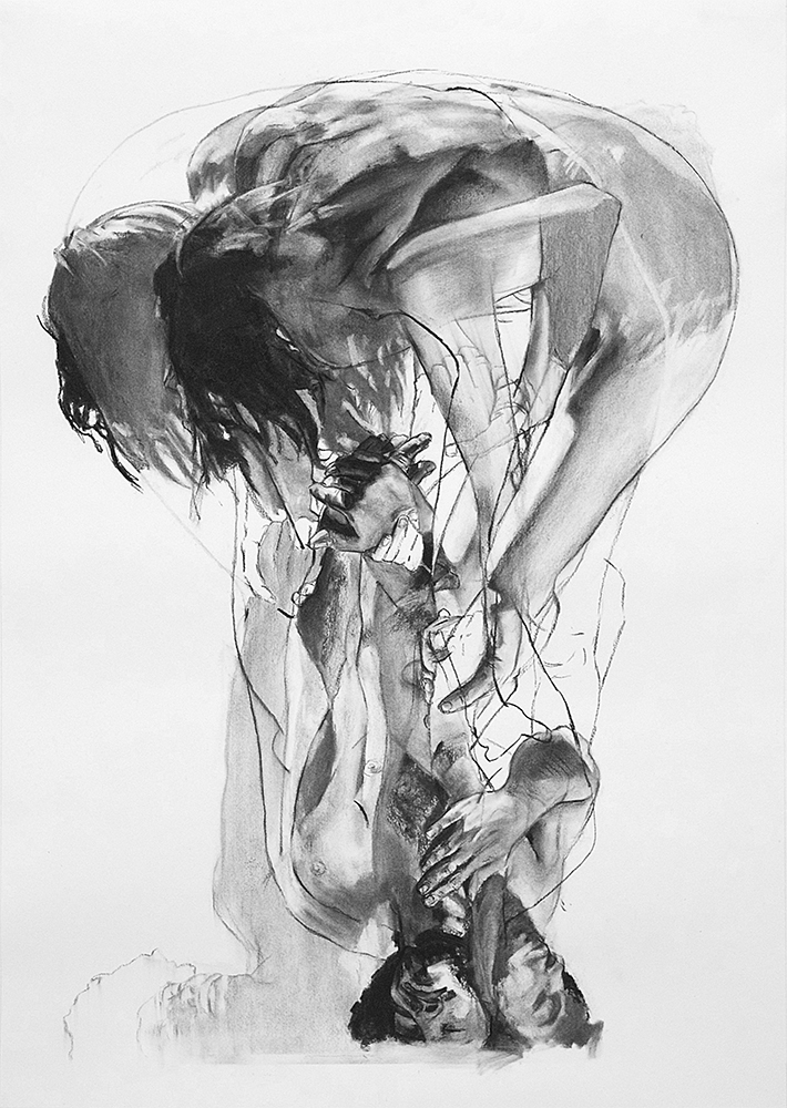 STUDY FOR LABOR (SECOND STUDY), 2015, charcoal on paper, 60 x 42 inches (152.4 x 106.7 cm).