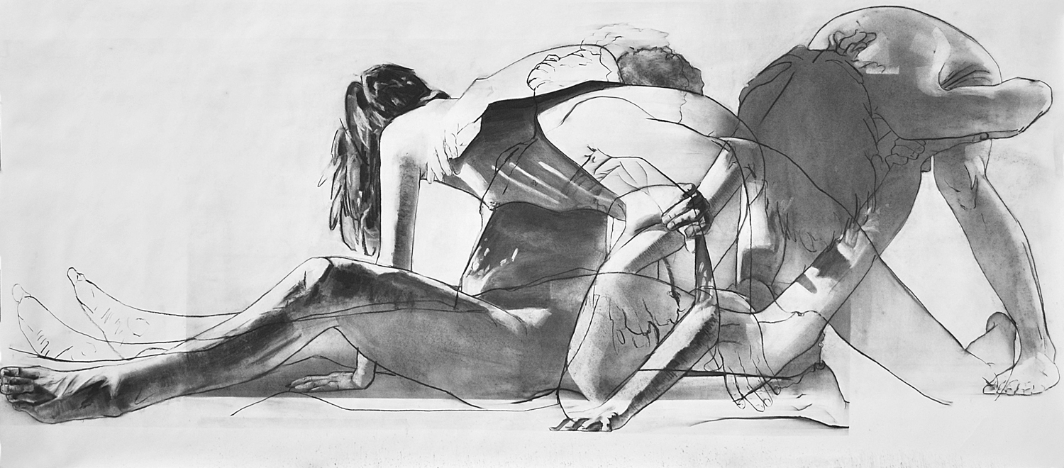 STUDY FOR LABOR, 2014, charcoal on paper, 35 x 80 inches (88.9 x 203.2 cm).