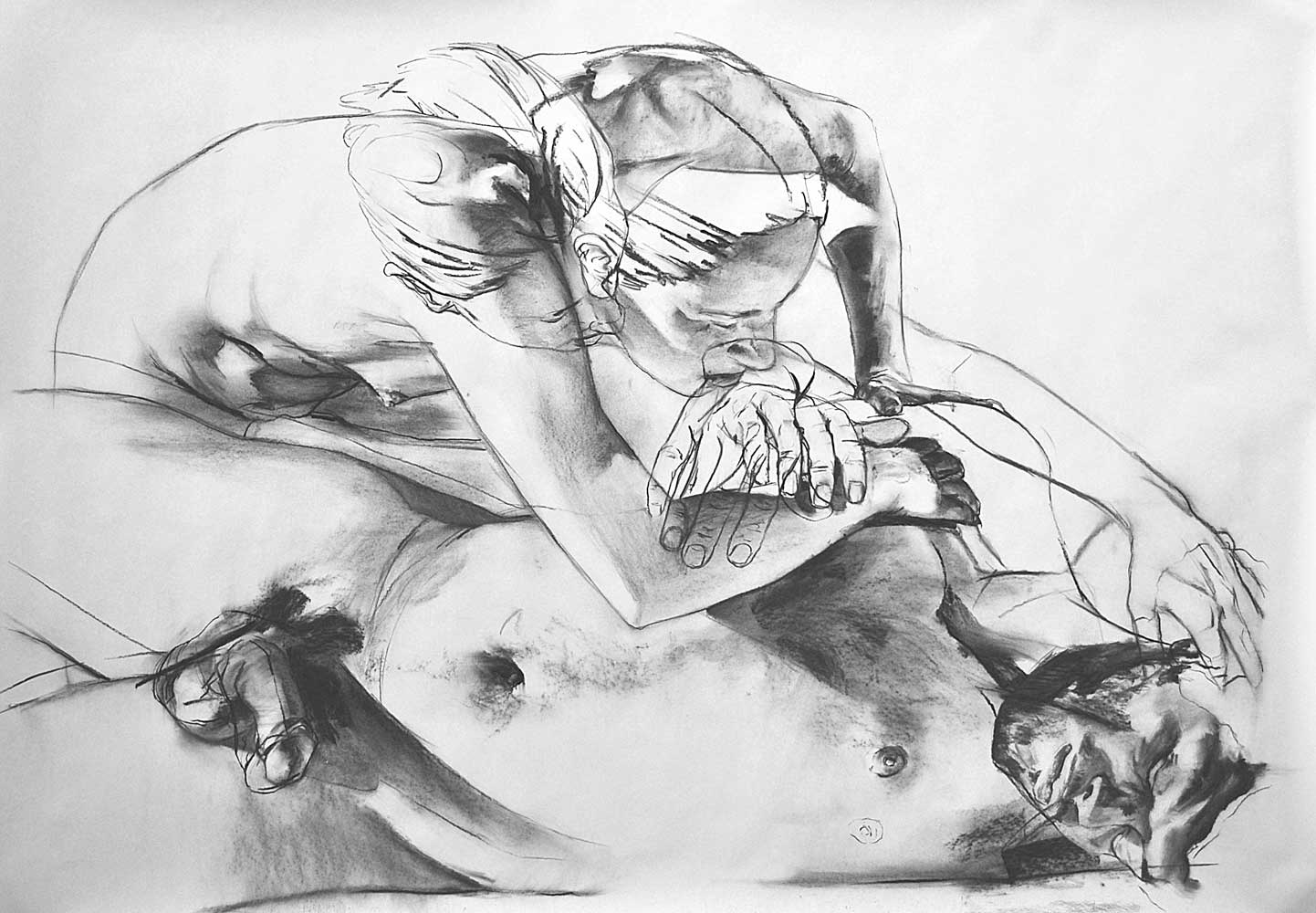 STUDY FOR AUREOLE, 2013, charcoal on paper, 42 x 60 inches (106.7 x 152.4 cm).