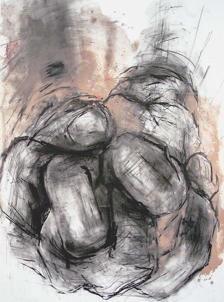 UNTITLED (OEDIPUS DRAWING 7), 2007, charcoal and oil on paper, 42 x 35 inches (106.7 x 88.9 cm).