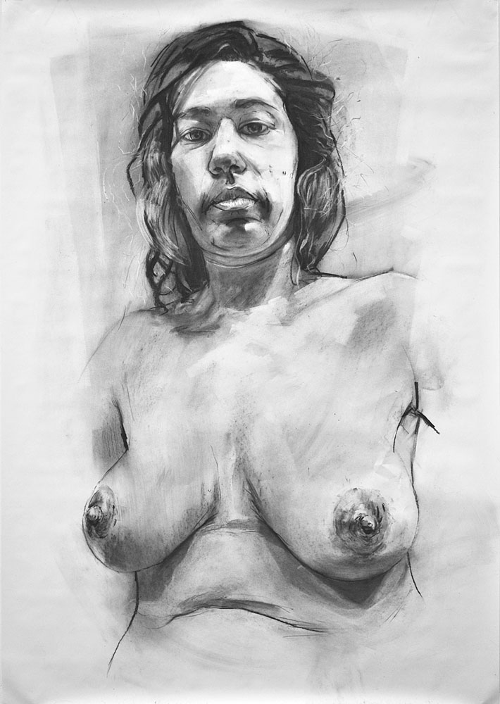 UNTITLED (STUDY), 2012, charcoal on paper, 60 x 42 inches (152.7 x 106.7 cm).