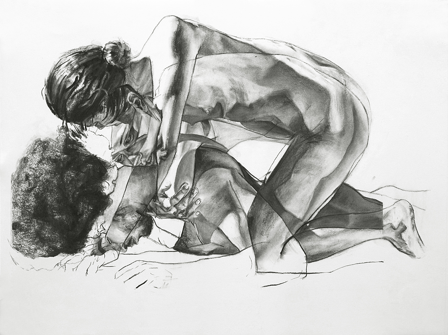 UNTITLED, 2015, charcoal on paper, 30 x 40 inches (76.2 x 101.6 cm).